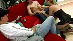 Busty Slut Sucks Off Guy in Front of Husband