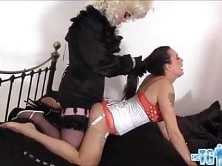 Hot blonde TGirl has footjob and wank then cums in Milf face