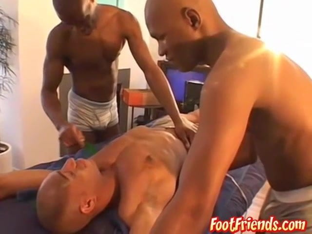 Jock tied up for toes torment by younger black jocks