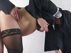 Pregnant nun taken by surprise and fucked from behind