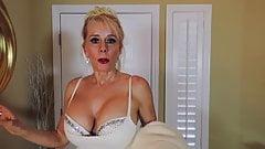 Nonnude Sexy Blonde Busty Mature MILF white dress high heels