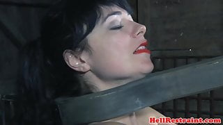 BDSM sub plays with fire while bound