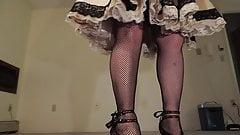 Sissy Ray in Gold Satin Sissy Dress Upskirt