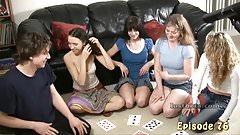 4 Girls and 1 Guy Play Strip Cards for Masturbation Forfeit