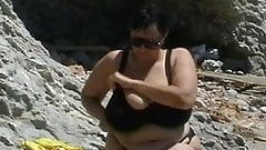 German BBW-Granny with Huge-Boobs Outdoors
