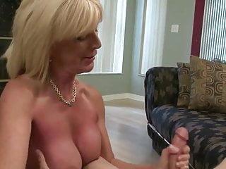 Blonde Busty Milf Jerks Cock