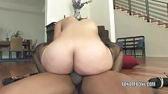 Ebony coed Vanessa Cruz fucks and gets the cum on her face