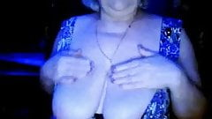 hot granny flashing her big tits of her husband hidden