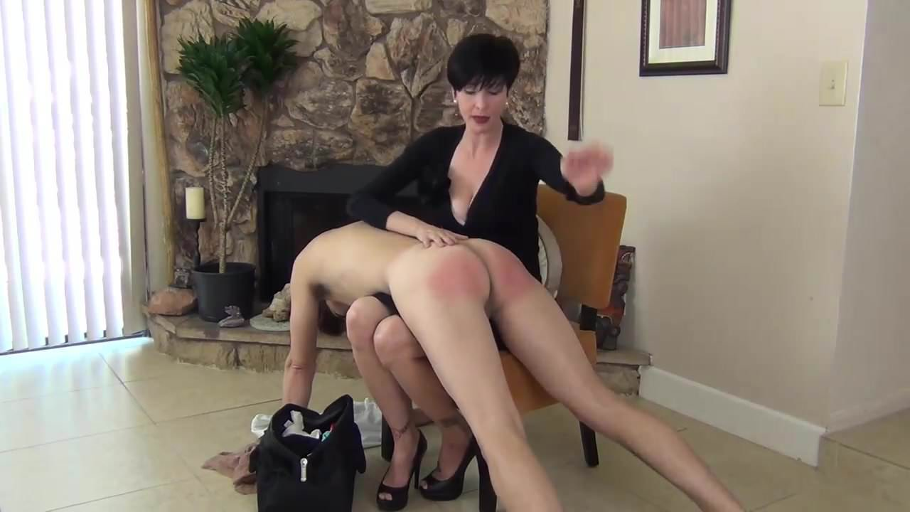 Lesbian over the knee spanking