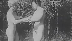 Two Naked Nudist Girls Playing Ball (1940s Vintage)