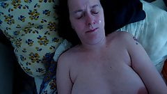 Huge cumshot all over her body