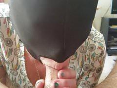 Mature mom sucking for cum