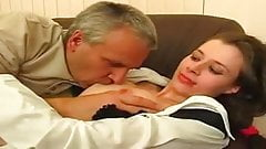 two clips of young brunettes fucked by older men