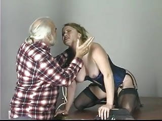 Blonde slave tastes her ass juices after sucking dildo on the punishment table