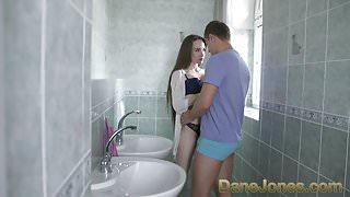 Dane Jones Dark-haired beauty gives sloppy blowjob