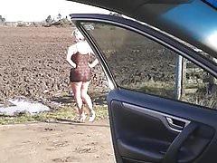 Stripping off beside my car...