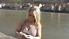 blonde smoking cigarette