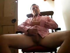 Hot Guy Jerking off in Business shirt