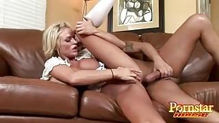 Blonde Pornstar Gets Mouth Jizz