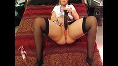 Check My MILF wife in black stockings with huge dildo