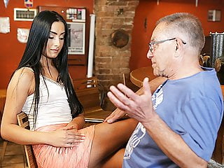 dadDY4K. Old dad seduces beautiful brunette while son left..