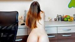 Masturbates and dances in kitchen