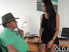 Caught Grandpa Having Sex With Young Brunette at her job