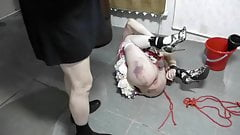 Sissy-slave tightly tied