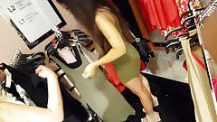 Candid voyeur crazy thick in tight dress with friend