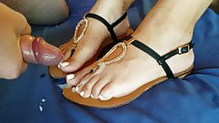 Cum on my sexy wife's feet and sandals