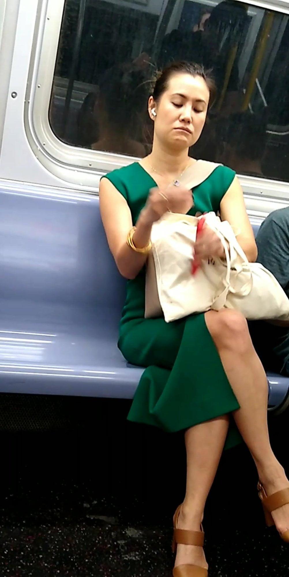Cute Asian on the train nice legs pretty feet mature