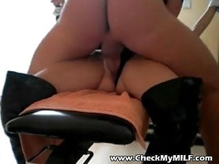 Dirty MILF fucked workout table with cum dumped on her face