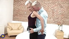 Taboo home sex with blond mom and son