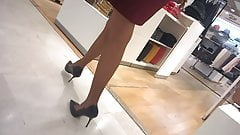 Milf with sexy legs high heels and pantyhose