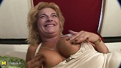 Shaved mother playing with her snatch