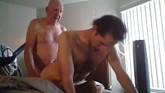 Elderly man doing a young man doggy style