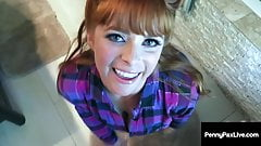 Hot Red Headed Fire Crotch Penny Pax Mouth Fucked In The WC!