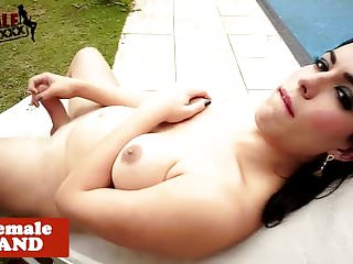 Preview 5 of Busty trans beauty with bigbooty wanks solo
