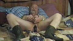 Old guy dildo play and cum