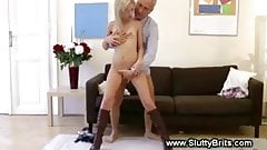 Young woman gives russian then fucks mature guy
