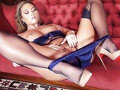 Hot blonde in heels lingerie nylons before pantie pussy play