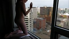 wife exposed to public with hitachi in hotel window