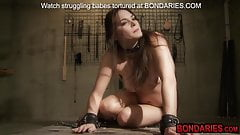 Gorgeous teen slave is tortured by hot wax,spikes and dildo