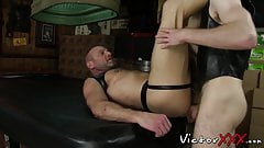 Hairy gay cock sucked off before bareback and rimming