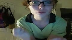 nerd looking slim teen strips on webcam