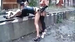 Lesbian outdoor doggy fucking