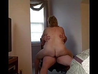 my bbw wife fucks me on a strong chair, we come together