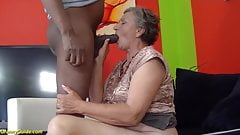 80 years old granny first interracial