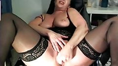Check My MILF Busty mom in black stockings with big toy