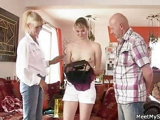He finds girlfriend riding his dad's cock